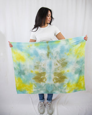 Blue, green, chartreuse and aqua tapestry scarf