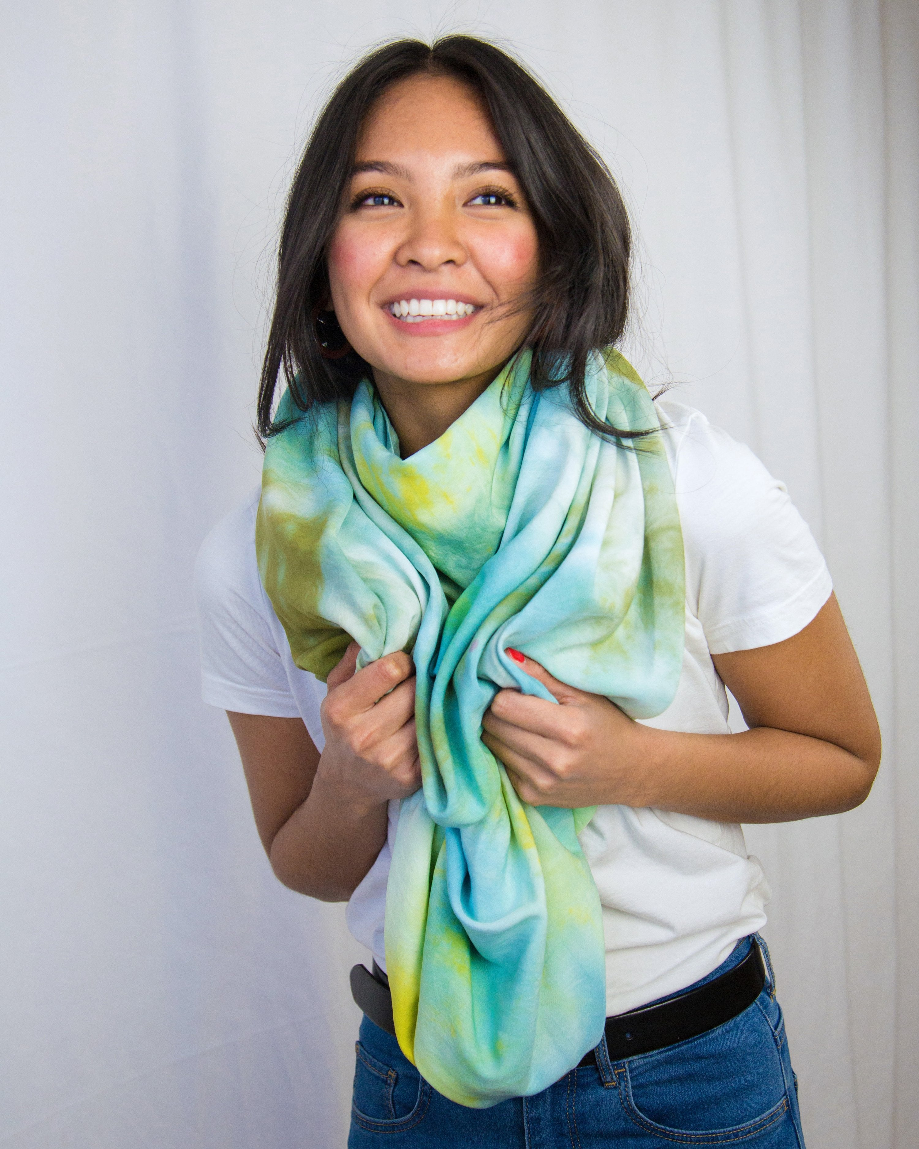 blue, green and aqua hand-dyed scarf