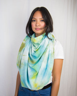 blue, green and aqua scarf and sarong