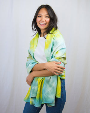 blue, green and aqua scarf, shawl, sarong