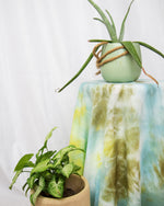 blue, green, olive, aqua tapestry and tablecloth