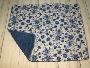 Blue Floral Dolly Blanket