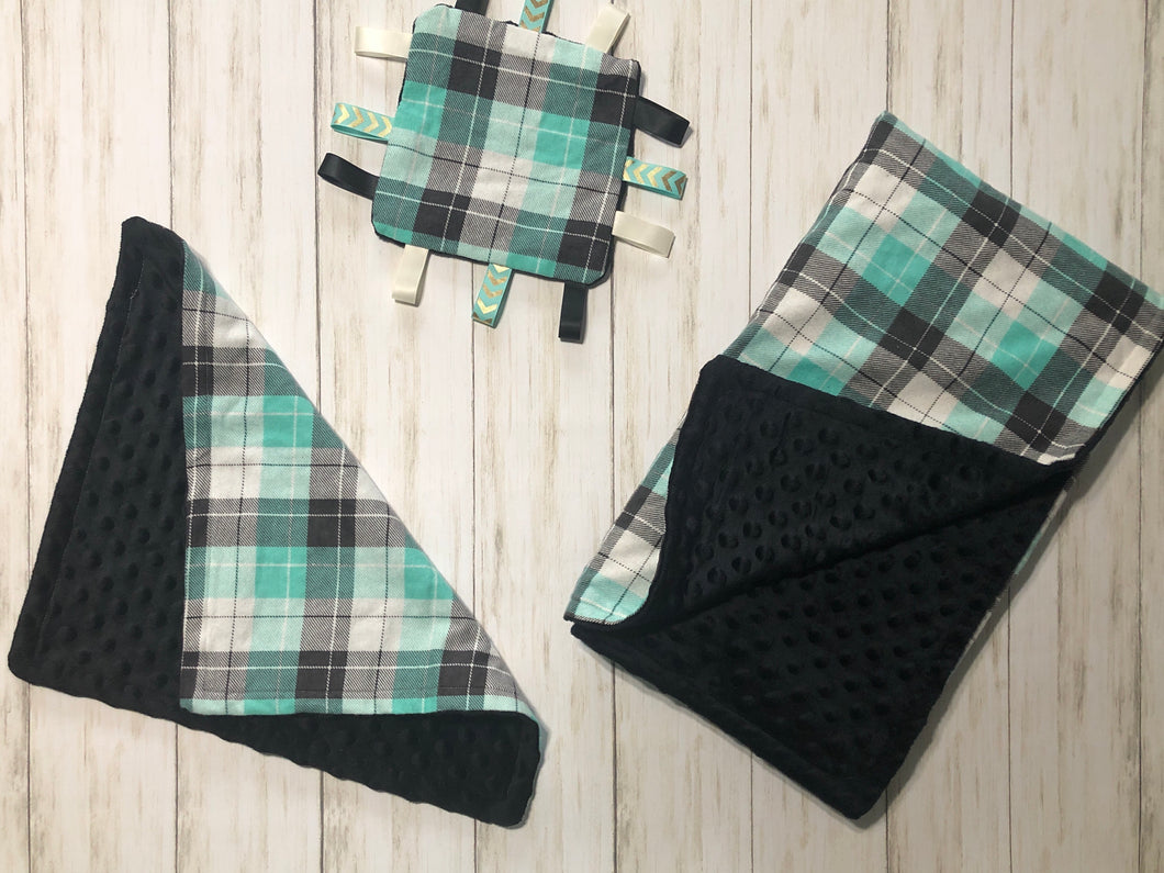 Teal and Black Plaid Gift Set