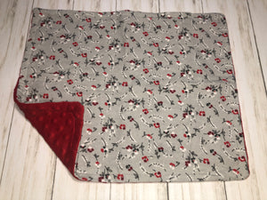 Red Floral Dolly Blanket