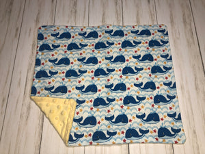 Whales Dolly Blanket with yellow minky