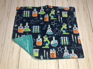 Science Dolly Blanket with teal minky