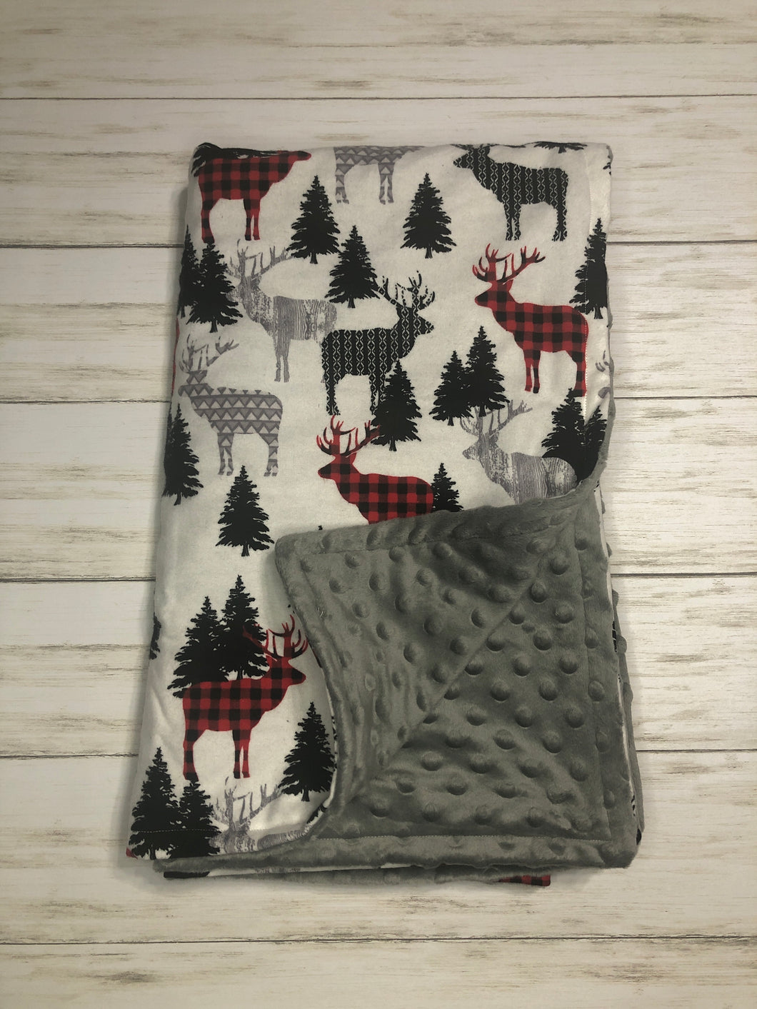 Buffalo Plaid Deer blanket