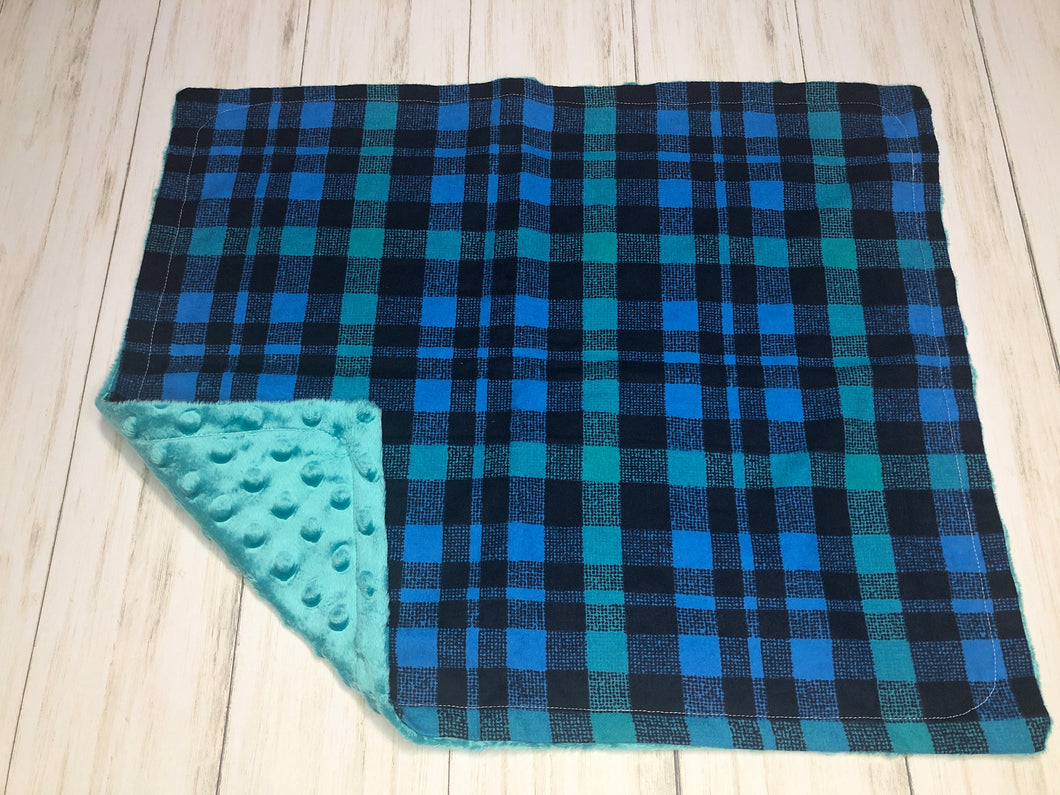 Blue & Teal Plaid Dolly Blanket