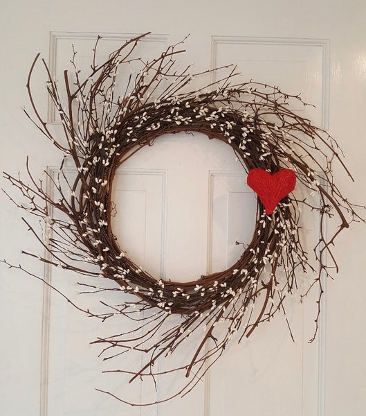 Valentines Day Decor, Country Home Decor, Valentine Wreath, Heart Wreath