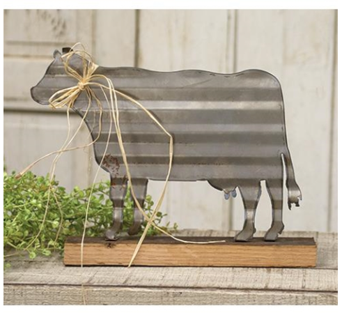 Corrugated Cow Sign, Cow Decor