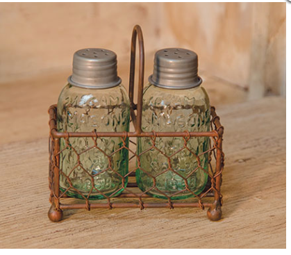 Chicken Wire Caddy Salt and Pepper Shakers