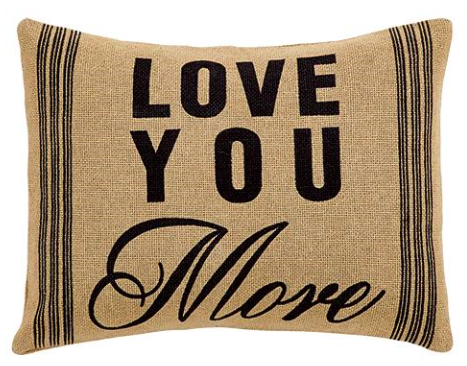 Love You More Burlap Pillow with button enclosures on the back