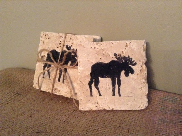 Moose Gift Ideas, Moose Coasters Set of 4, Cabin Coasters, Lodge Decor