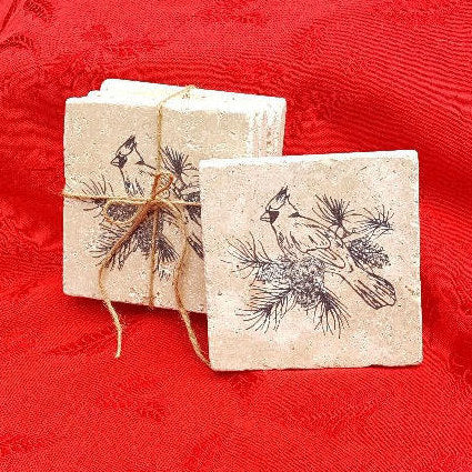 Christmas Gifts, Christmas Coasters, Cardinal Gifts, Bird Gifts, Holiday Coasters, Holiday Decor, Christmas Decor, Stone Coasters, Coasters