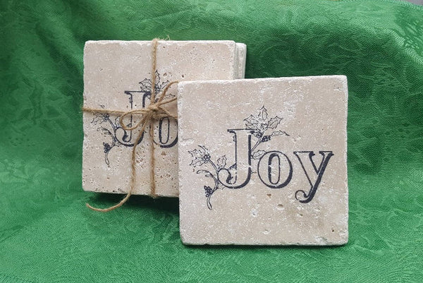 Holiday Gifts, Christmas Coasters, Joy Gifts, Christmas Gifts, Holiday Coasters, Holiday Decor, Christmas Decor, Stone Coasters, Coasters