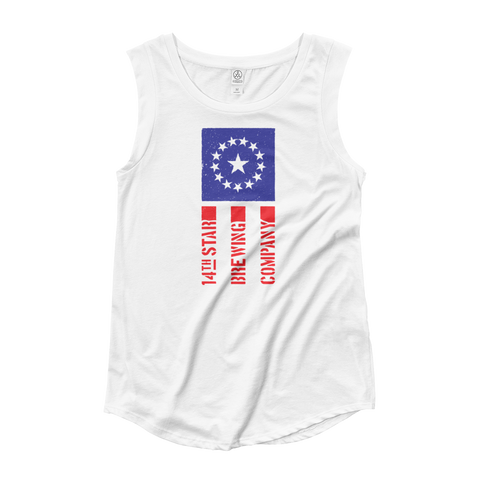 Red White and Brew Ladies' Cap Sleeve Tee