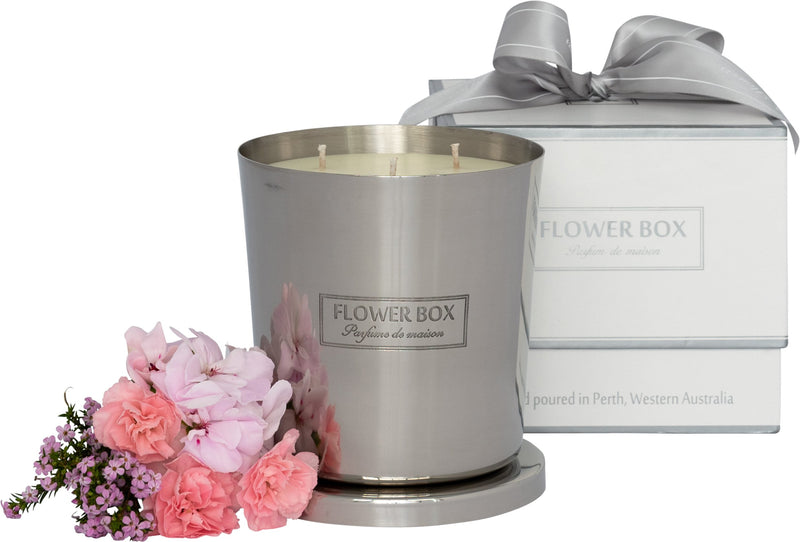 Pink Flowers 1kg Silver Candle