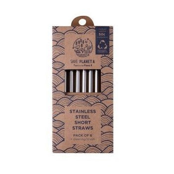 Stainless Steel Short Straws - Pack of 6