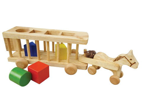 Wooden Horse Cart Shape Sorter
