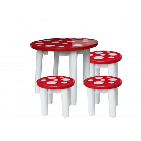 Mushroom Table and 3 Stools