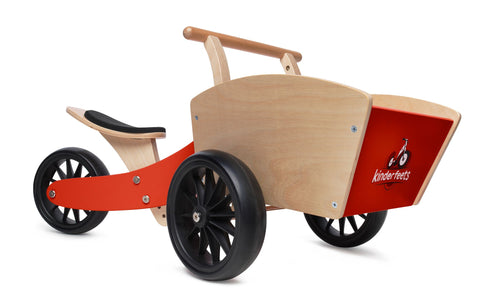 Wooden kinderfeet red cargo trike