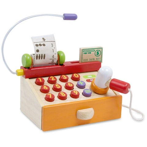 Wooden toy cash register