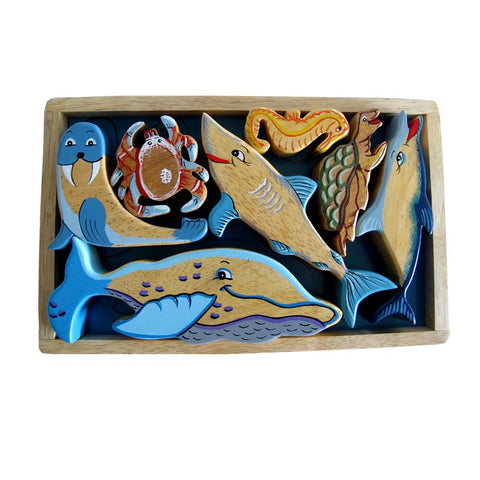 Sea Creatures Natural Wooden Playtray