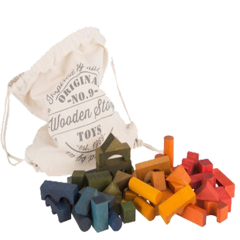 Wooden Story - Rainbow Blocks In Sack, 100pcs