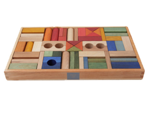 Wooden Story - Rainbow Blocks In Tray, 54pcs