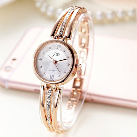 Stainless steel women luxury watch. With diamond details