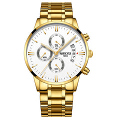 Gold Steel Luxury Watch For Men. With Chronograph. Waterproof.