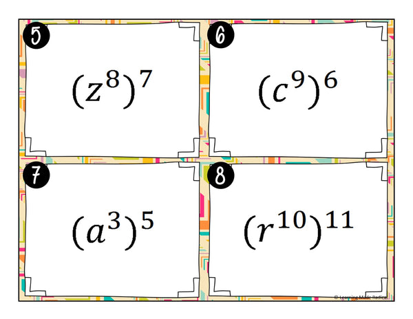 Exponent Rule Bundle - Power, Product, Quotient, Negative & Zero Exponent Rules