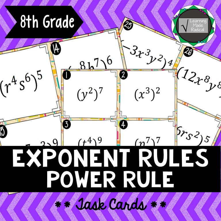 Exponent Rule - Power Rule Task Cards