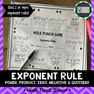 Exponent Rules Hole Punch Game (Power, Product, Quotient, Negative & Zero)