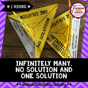 One Variable Equations - Infinitely Many, One and No Solution Notes Activity