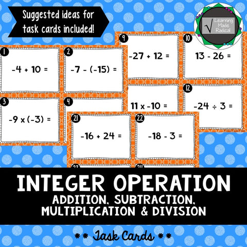 Integer Operation Task Cards