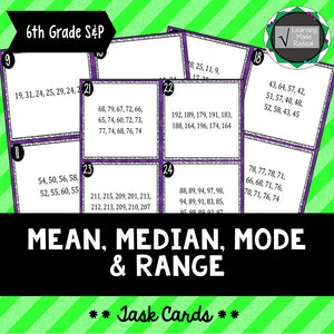 Mean, Median, Mode & Range Task Cards