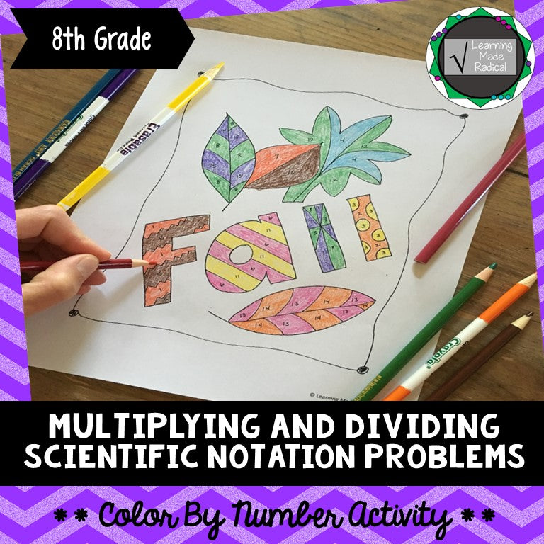 Multiplying and Dividing Scientific Notation Problem Color By Number Activity
