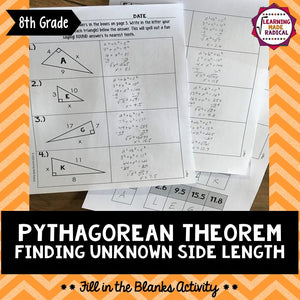 Pythagorean Theorem - Side Length Fill in the Blank Activity