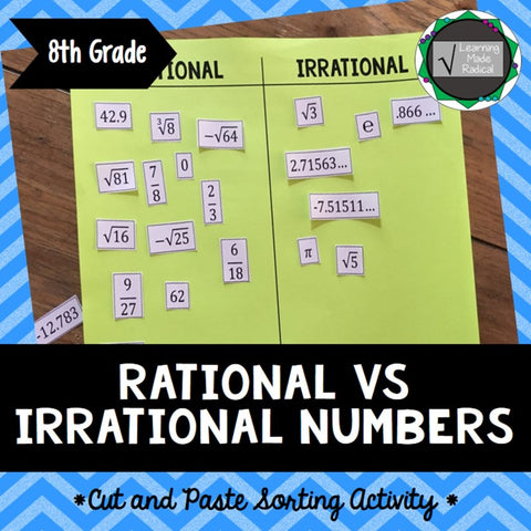 Rational Number vs Irrational Number Cut and Paste Sorting Activity