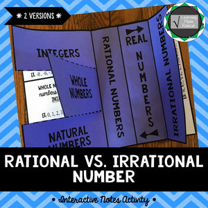 Rational Number vs Irrational Number Interactive Notes Activity
