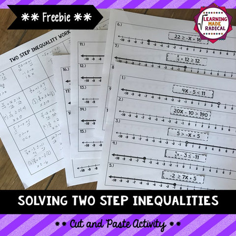 Solving Two Step Inequalities Cut and Paste Activity