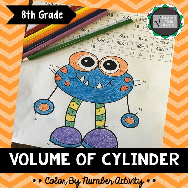 Volume of Cylinder Color By Number Activity
