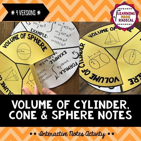 Volume of Cylinder, Cones & Spheres Interactive Notes Activity