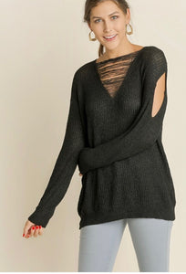 f6b8d9f62c10dd Black sweater with ripped detail