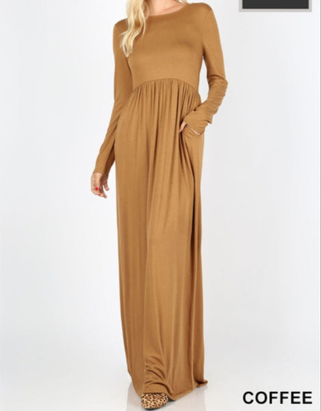 """Coffee Brown"" Maxi Dress"
