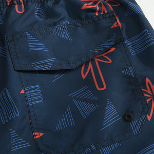 SULANG Men's Ultra Quick Dry Board Shorts No Mesh Lining, Geometric Palm - SULANG