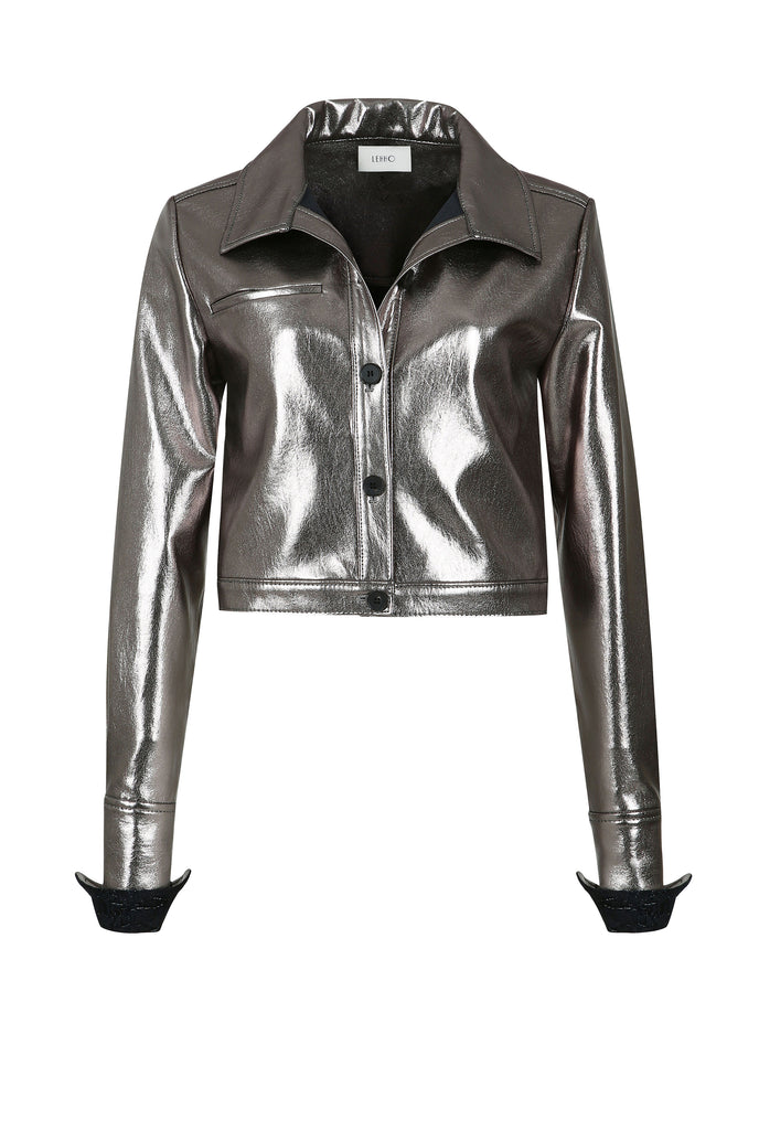 CALLISTO METALIC VEGAN LEATHER SHIRT JACKET
