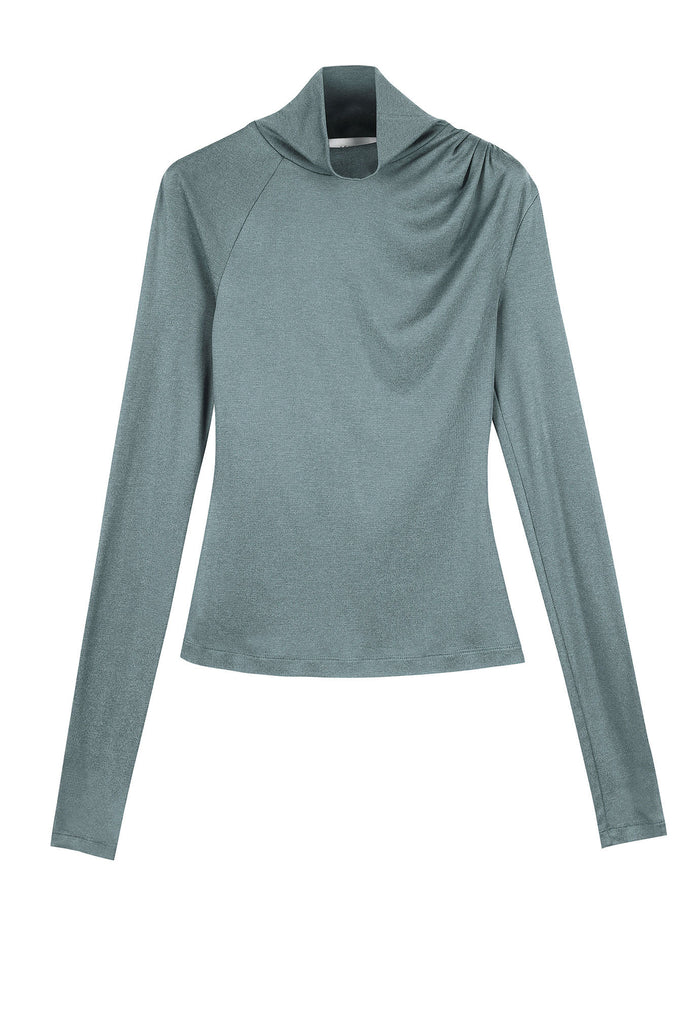CRESSIDA SILK COTTON JERSEY TURTLENECK