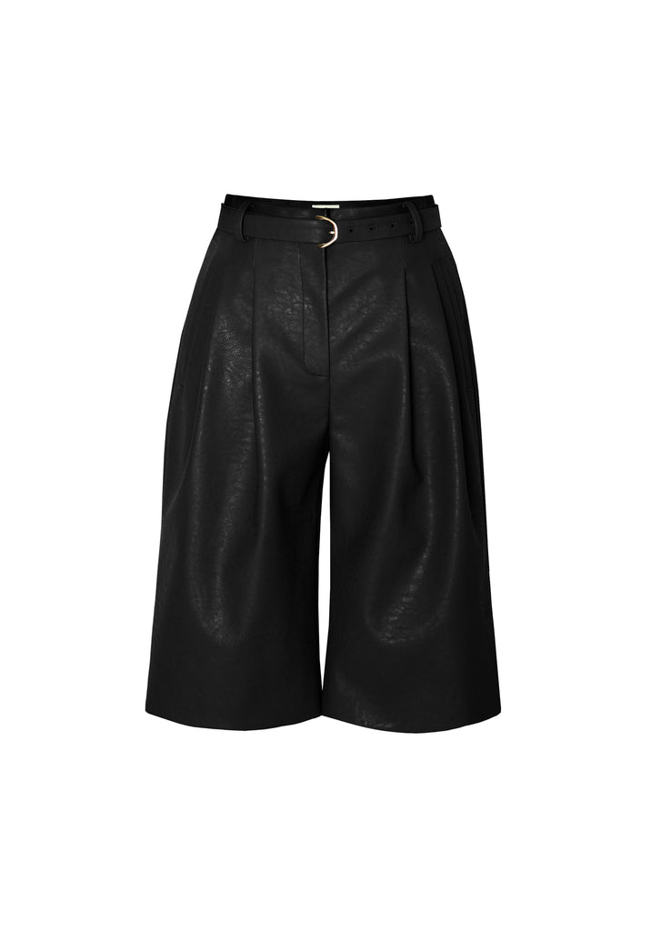 GRACE HEAVY VEGAN LEATHER BERMUDA SHORTS